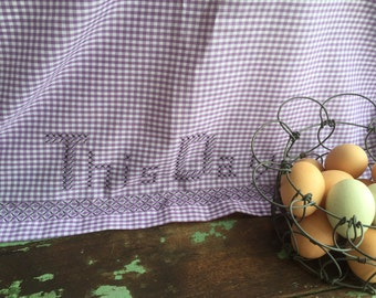 Vintage Purple Checked Gingham Tablecloth Embroidery Lords Prayer And Stars