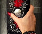 Bling Biker Wallet, Vegan, Faux Leather Wallet with Red Rhinestones and Studs, Biker Chic