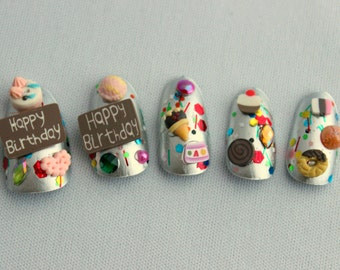 Birthday Fake Nails, Fun Birthday Gift, Acrylic Nail, Press On Nails, Birthday Nail Art, 3D Fake Nail Art, Japanese 3D Nail Art, Bday Nails