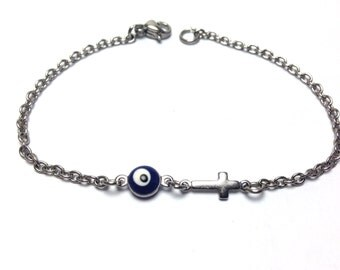 Evil eye cross bracelet  - dark blue eye - stainless steel - protection - Greek jewelry