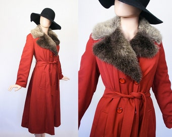 Vintage 60s Faux Fur Coat / 1960s Mod Trench Coat / 1970s Bohemian / 70s Hippie Boho Coat / Warm Brown / Spy Girl / Vegan / Medium / Large