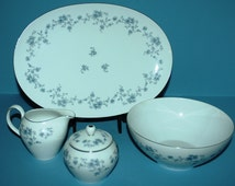"Haviland Blue Rose Garland Accessories, Haviland Serving Pieces, 8"" Bowl, Platter, Sugar & Creamer"