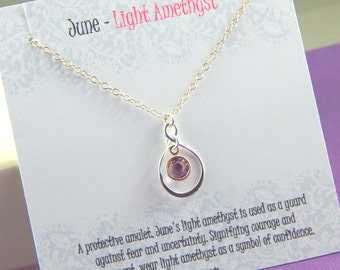 June Birthstone Necklace, Personalized infinity necklace, Light Amethyst, birthstone jewelry, gift boxed necklace