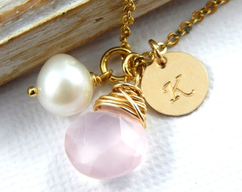 Chalcedony Necklace, Pink Chalcedony necklace, Gold Filled Necklace, Initial Necklace