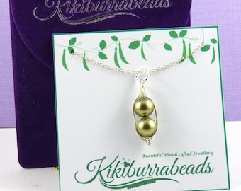 Two Peas In A Pod Necklace,Peas In A Pod Jewelry,Silver Pea Pod Necklace,Choose Your Color Pearls