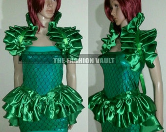 Ariel Little mermaid Cosplay fish scales mini dress burlesque bustle skirt and Bolero wrap