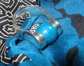 Lapis Ball  Sterling Silver Ring Size 7