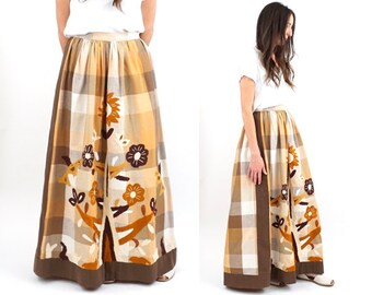 vintage AUTUMN floral EMBROIDERED plaid MAXI skirt M-L