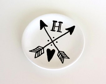 Wedding Ring Dish Custom Bridesmaids Gifts Ceramic Initial Plate Painted Jewelry Holder Black and White Personalized Heart  Arrows