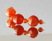 3 Large Orange Carnelian Faceted Round Beads, 10mm - 11.2mm, 21.8 ct Orange Chalcedony Demi Strand, PLUS 4 5mm Carnelian Smooth Rounds