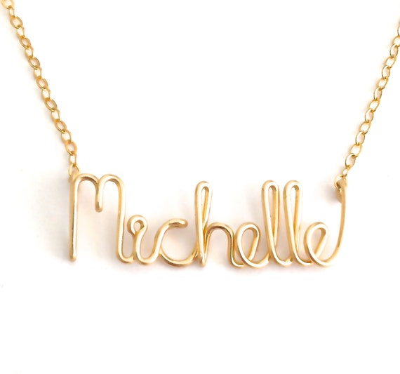 Gold Name Necklace. Personalized 14k Gold Filled Name Necklace