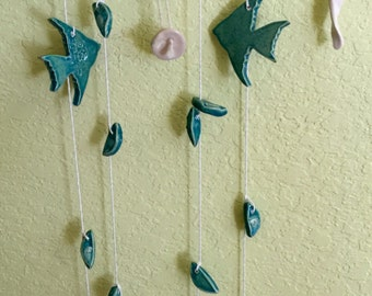 Angelfishes Wind Chime on Local Driftwood with Shells