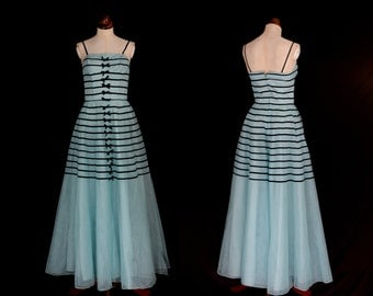 Original Vintage 1950s Blue Stripe Tulle Prom Dress  - X Small - FREE SHIPPING WORLDWIDE