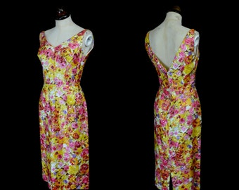 Original Vintage 1950s Floral Sequin Wiggle Dress  - Small - FREE SHIPPING WORLDWIDE