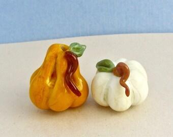 White Pumpkin Orange Gourd Bead Duo - Handmade Lampwork Glass Beads - SRA
