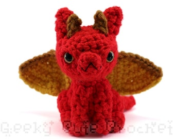 Large Dragon Amigurumi Crocheted Toy Plush Red Gold
