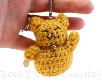 Golden Good Luck Kitty Amigurumi Keychain Maneki Lucky Neko Cat