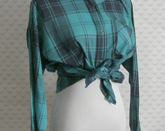 1980s green and plaid button down blouse