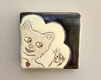 Cat Art, Small, Tabby Cat Loves Rat Mini Wall Art with Red Hearts, Black and White Ceramic Wall Tile, Home Decor, Animal Art Pottery