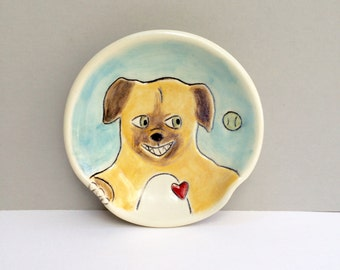 Ceramic Spoon Rest With Ball Dog,  Dog Loves Ball Blue and Orange Spoonrest For the Kitchen, Animal Pottery