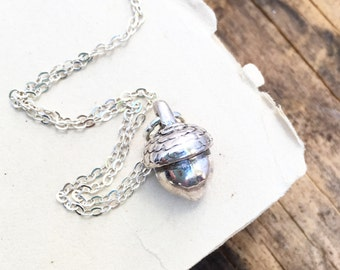 Silver ACORN  Necklace Autumn Rustic Sterling Silver Forest Woodland Squirrel