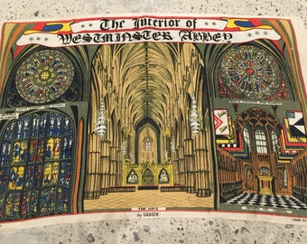 Westminster Abbey Travel Souvenir Pure Linen Cloth - Vintage Tourist - British Travel Traveler - London England Collectible - Westminster
