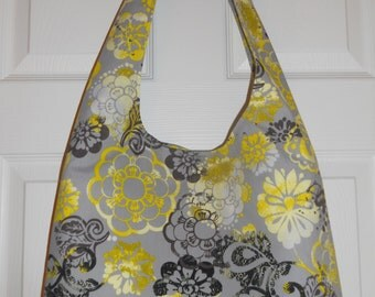 Slouch Tote Bag...in Gray and Yellow Floral