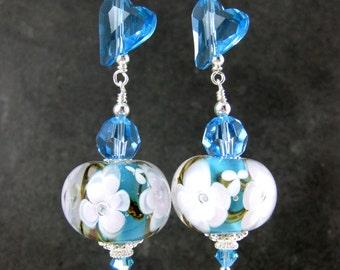 Aqua Blue Crystal Heart & Floral Glass Dangle Earrings, Turquoise Blue White Flower Lampwork Earrings, Valentine's Day Earrings, Romantic