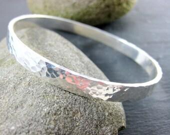 Heavy Sterling Silver Bangle Bracelet, Hammered Silver Bracelet, Simple Bracelet, 6mm Wide Stacking Bracelet, Everyday Minimalist Jewelry