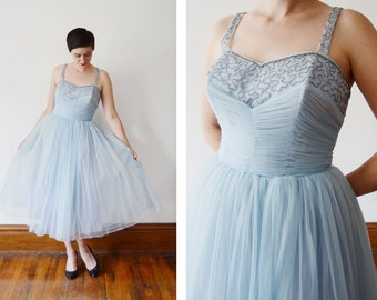 1950s Pale Blue Beaded Party Dress - M
