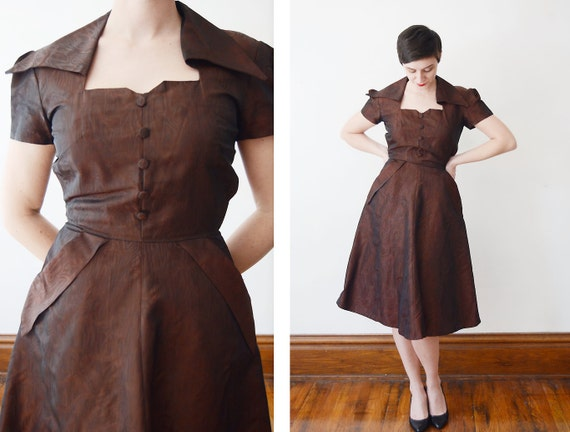 1940s Brown Party Dress - M / Woodgrain dress / Taffeta 40s dress