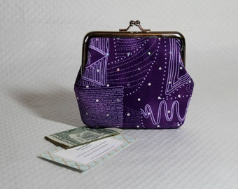 Coin Purse - Change Purse -  Purple Coin Purse - Purple Sparkle Change Purse - Kiss Lock Coin Purse