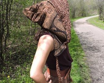 Earth toned crochet reversible pixie hood