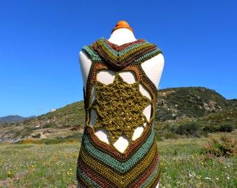 Earth toned Flower of Life crochet vest