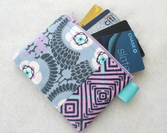 Amy Butler Fabric Business Card Case Coin Purse Zipper Credit Card Case Card Holder Wallet Violette French Twist Lavender Gray Turquoise MTO
