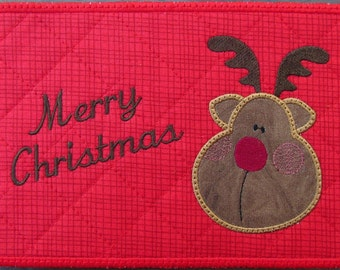 Machine Embroidery Design-ITH-Mug Rug-Applique' Reindeer with Merry Christmas includes 2 sizes, 5x7 and 6x10 hoops
