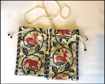 Medieval Elephant/Deer Purse - Double Pouch