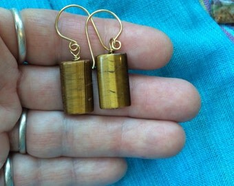 Affordable and Beautiful Earrings- Sunny Tiger Eye and Jewelers Brass