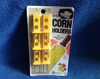 Vintage, TRAVCO Set Of Corn Holders with Stainless Steel Prongs, New OLDSTOCK, Still Sealed In Package.