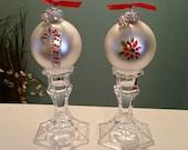 Christmas Ornament Set on Crystal Candlesticks / Christmas Decor / Holiday Decor