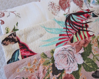 Vintage BARKCLOTH, lot 3 , floral barkcloth, tropical barkcloth, 40s fabric, mid century decor , three remnants