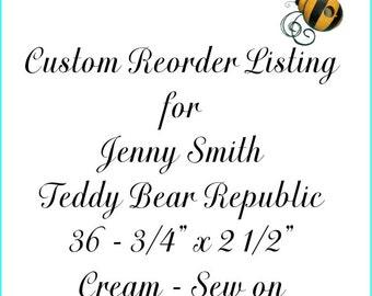 Custom Reorder Listing for Jenny Smith Teddy Bear Republic Cream Labels