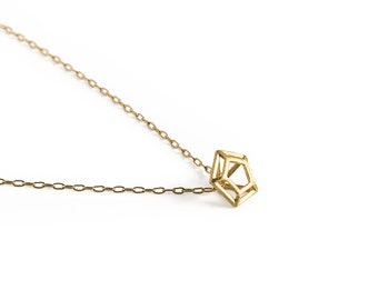 CG-N-18 little diamond shaped pendant on gold filled necklace