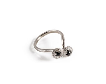 Sterling SIlver Eucalyptus Ring Adorned With Two Black Cubic Zirconia Stones