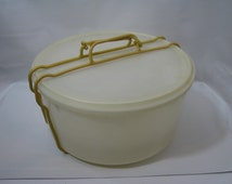 """Vintage Tupperware Large Round Cake Taker Tray 12"""" w Harvest Gold Cariolier Handle w Divide a Rack Pie Stacker"""