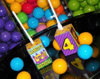 Bounce House Birthday Party Lollipop Boxes. Bounce Party Favors. Jump House Themed Sucker Favor. Bouncy House Lollipop. Inflatable Bounce