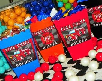 Fire Truck Party Mini Popcorn Boxes. Fire Engine Snack Boxes. Fire Truck Birthday Party Decoration. Fire Favor Boxes.  Fire Truck Treat Box