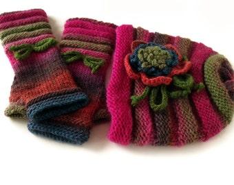 Hat and mittens, Beanie hat, Fingerless mittens, Knit hat and mitts, Hat & mittens set, Hat with flower, Wool hat, Wool mittens, Winter hat
