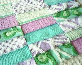 Vintage Chenille Purple and Aqua Green Pre-cut Squares - SWEET