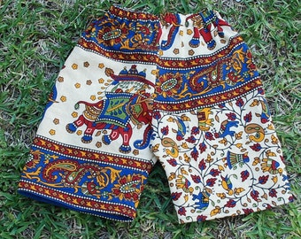 Hippie Kids Shorts-Jams -pants -Size 1- Blue Elephant -Boys or Girls- Read measurements